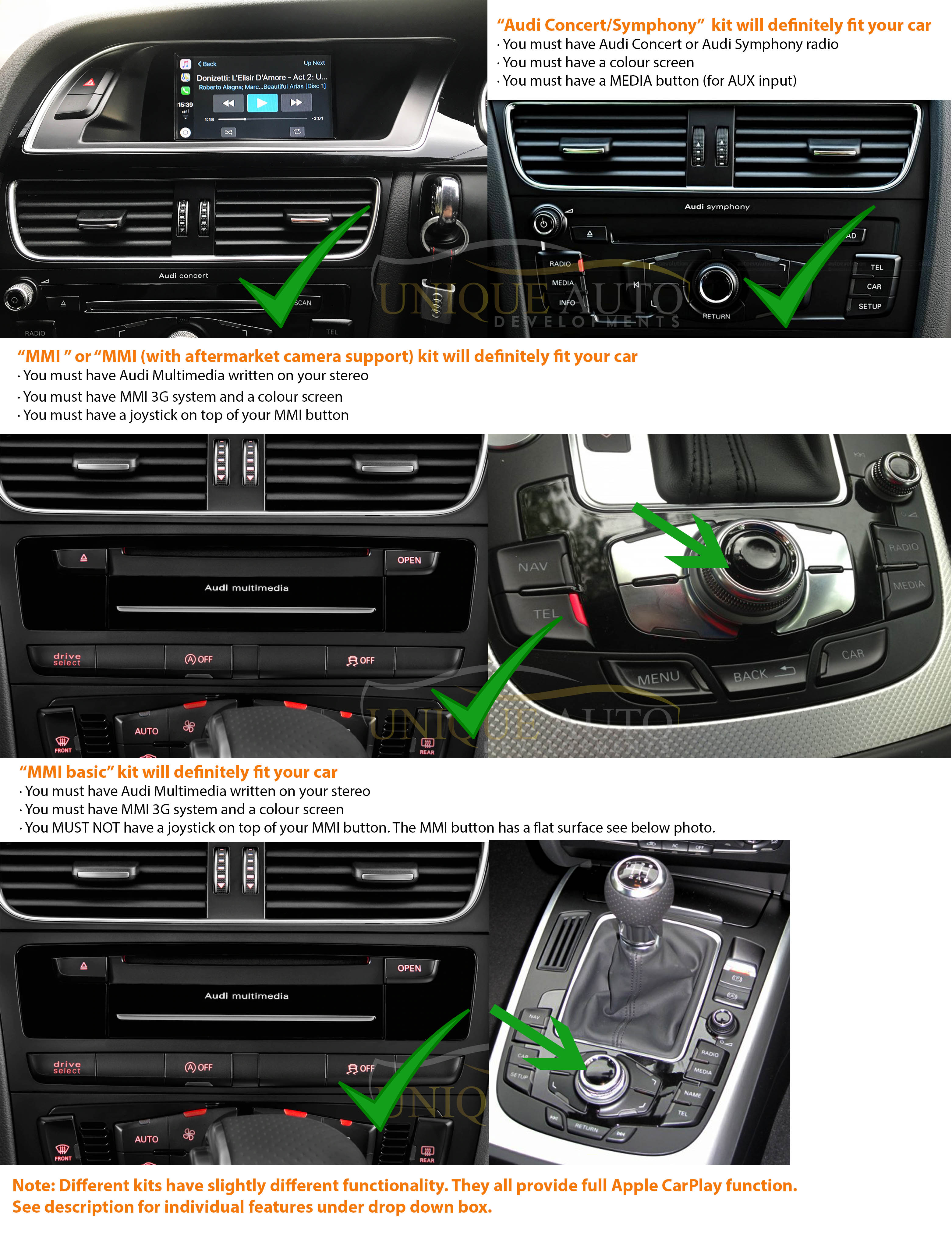 wired carplay interface for audi a4 a5 q5 b8 2009 16 with. Black Bedroom Furniture Sets. Home Design Ideas